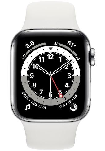 Apple Watch »Series 6 GPS + Cellular, Edelstahlgehäuse mit Sportarmband 40mm« (, Watch OS, inkl. Ladestation (magnetisches Ladekabel) kaufen