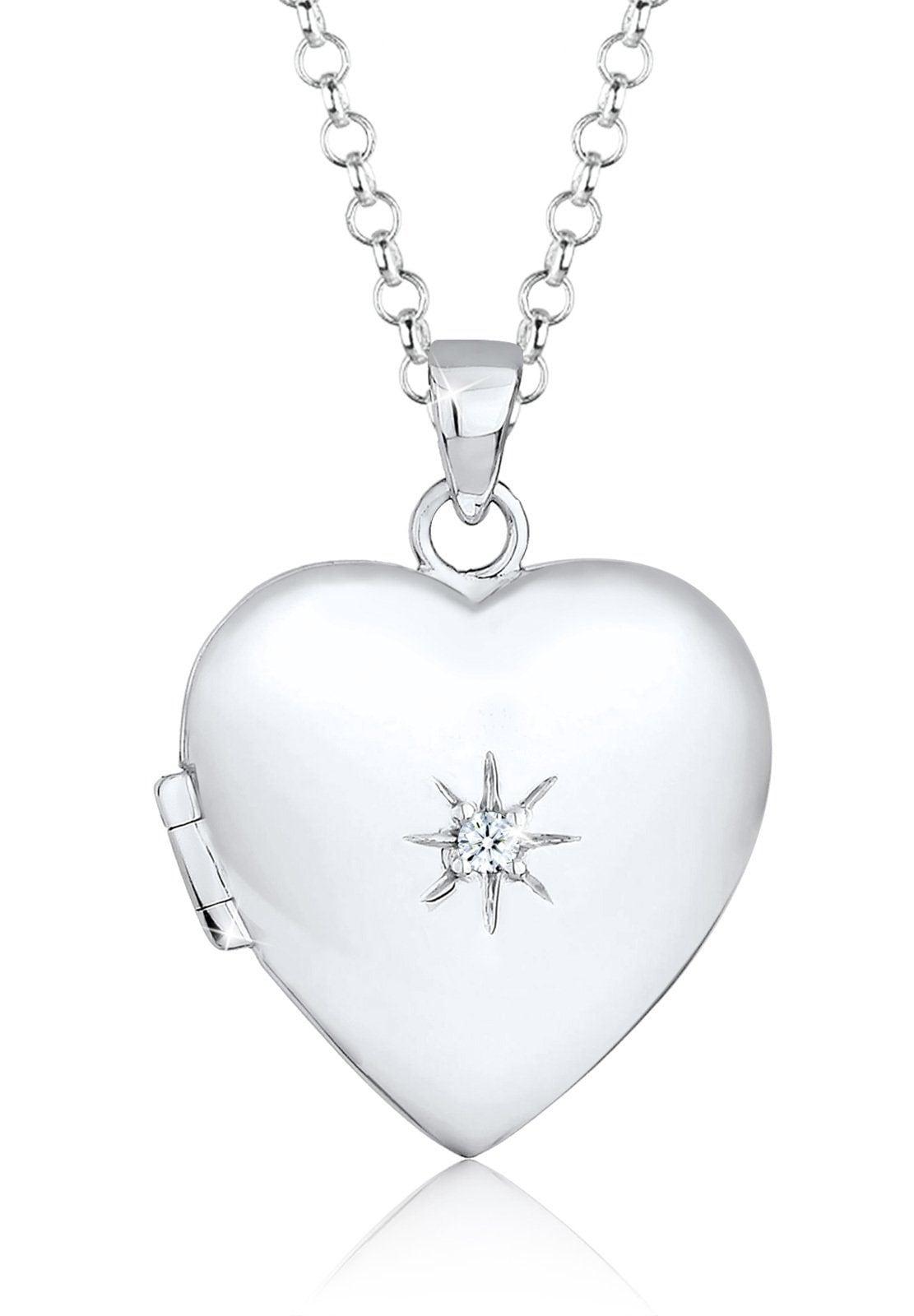 Elli Kette mit Anhänger  Herz Amulett Diamant (0.03 ct) 925 Sterling Silber  Preisvergleich