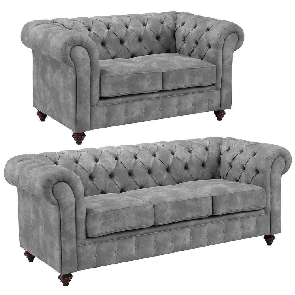 Premium collection by Home affaire Sitzgruppe »Chesterfield«, (2 tlg.), Bestehend aus 2- und 3-Sitzer