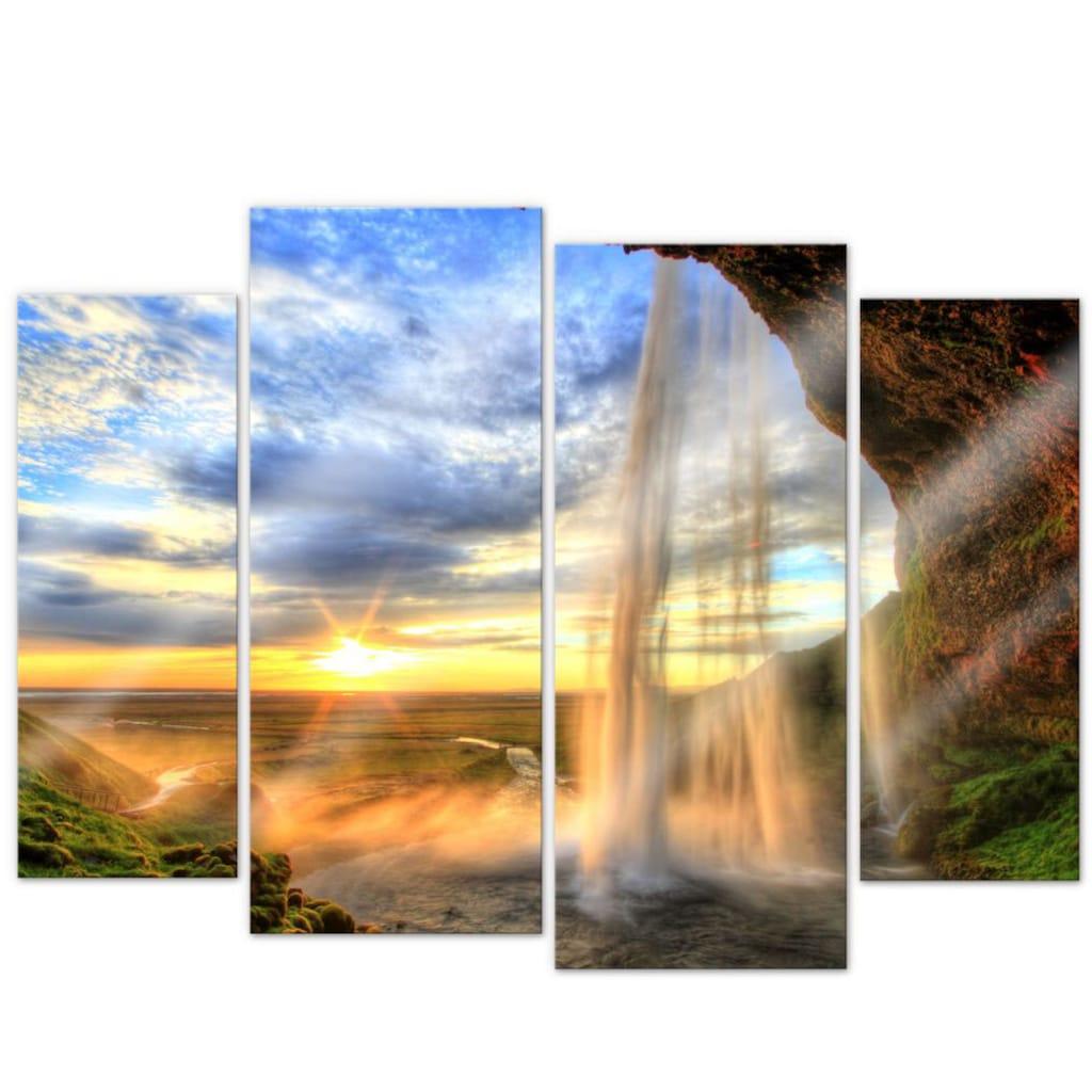 Wall-Art Mehrteilige Bilder »Fernweh Wasserfall (4-teilig)«, (Set, 4 St.)
