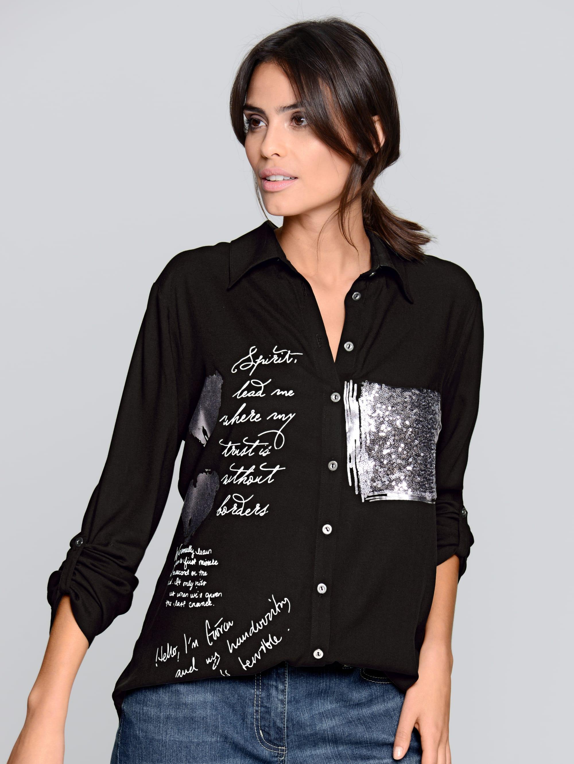 Alba Moda Hemdbluse mit Folienprint und Pailletten