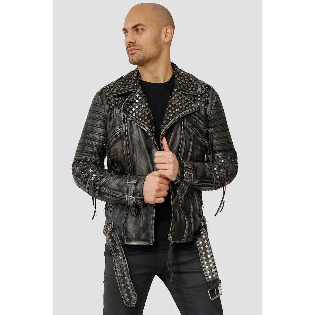 trueprodigy Lederjacke »Ragnar«, mit Nieten, Print und Waschung