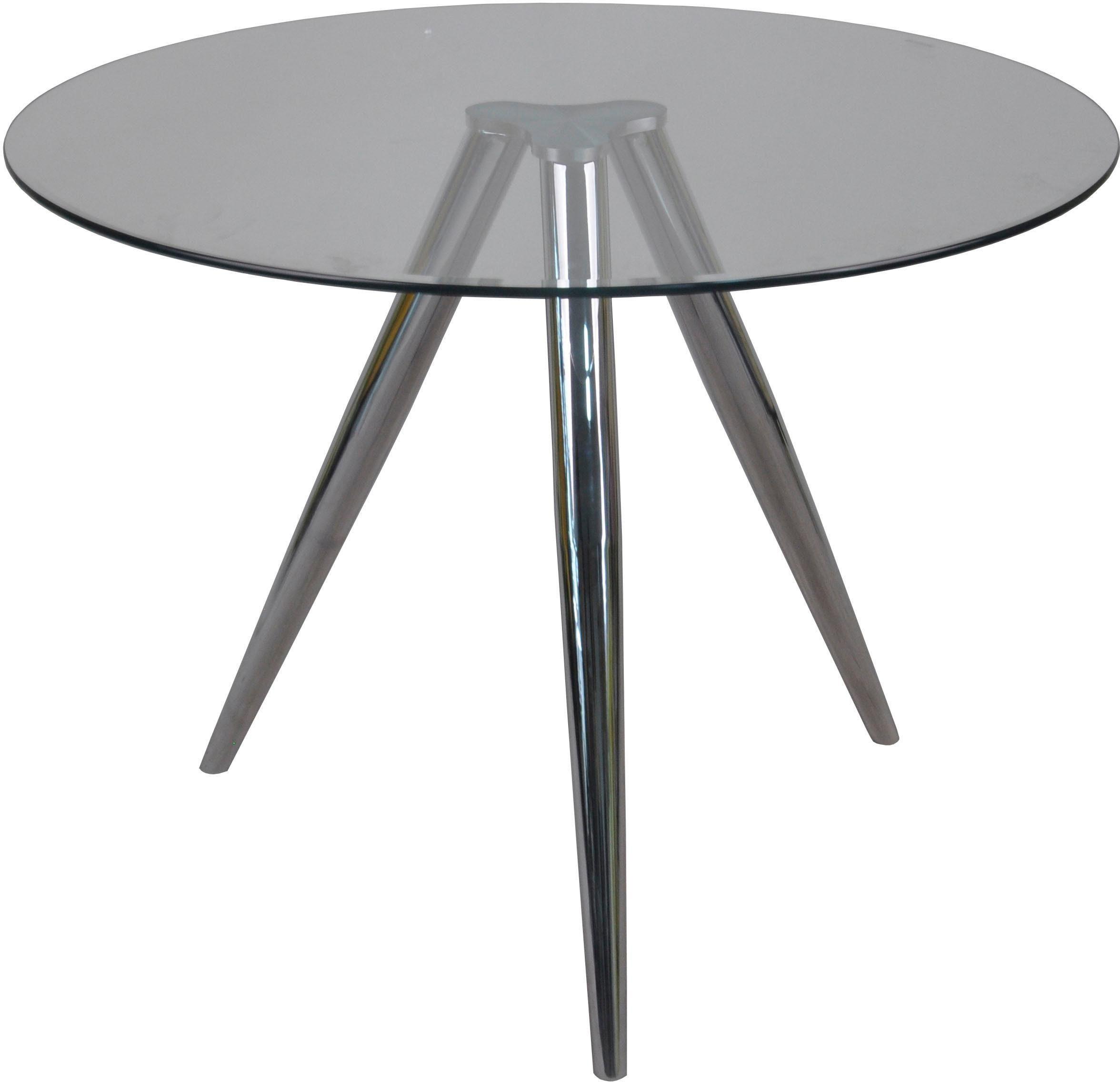 SalesFever Esstisch, mit modernem Chrom Gestell farblos Esstisch Esstische rund oval Tische