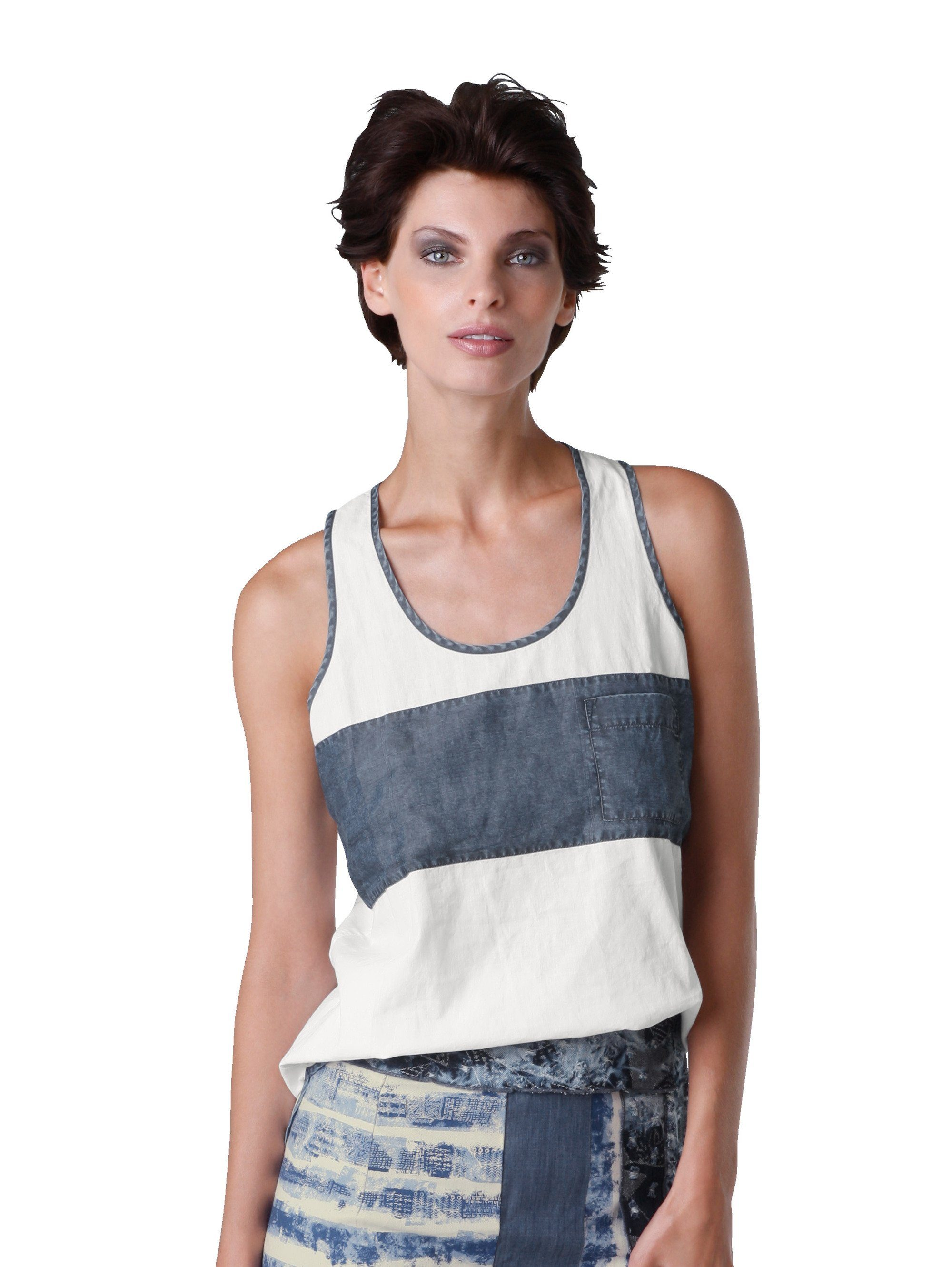 Alba Moda Blusentop mit kontrastfarbigem Einsatz | Bekleidung > Tops > Blusentops | Alba Moda
