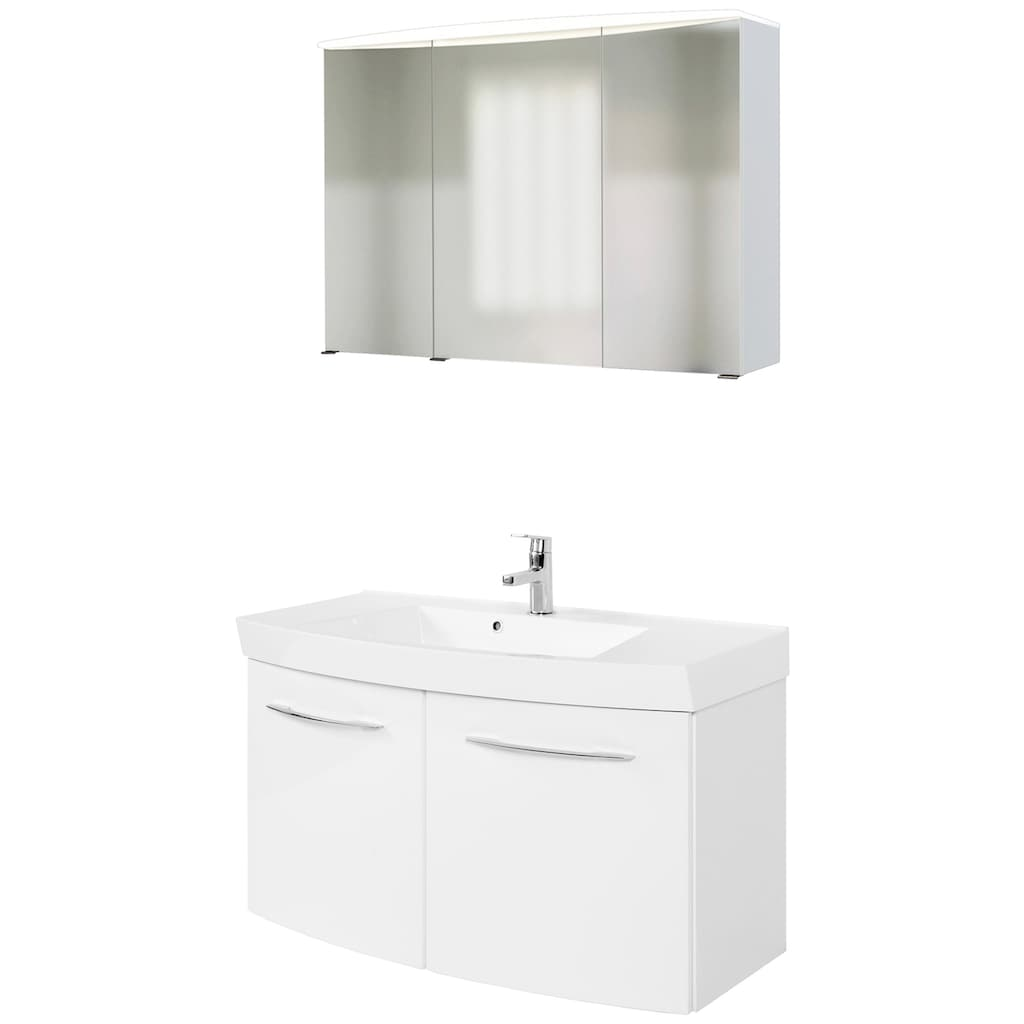 HELD MÖBEL Badmöbel-Set »Florida«, (2 St.), bestehend aus Spiegelschrank und Waschtisch, Breite 100 cm