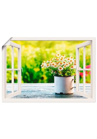 Artland Wandbild »Fensterblick Garten mit Gänseblümchen« kaufen