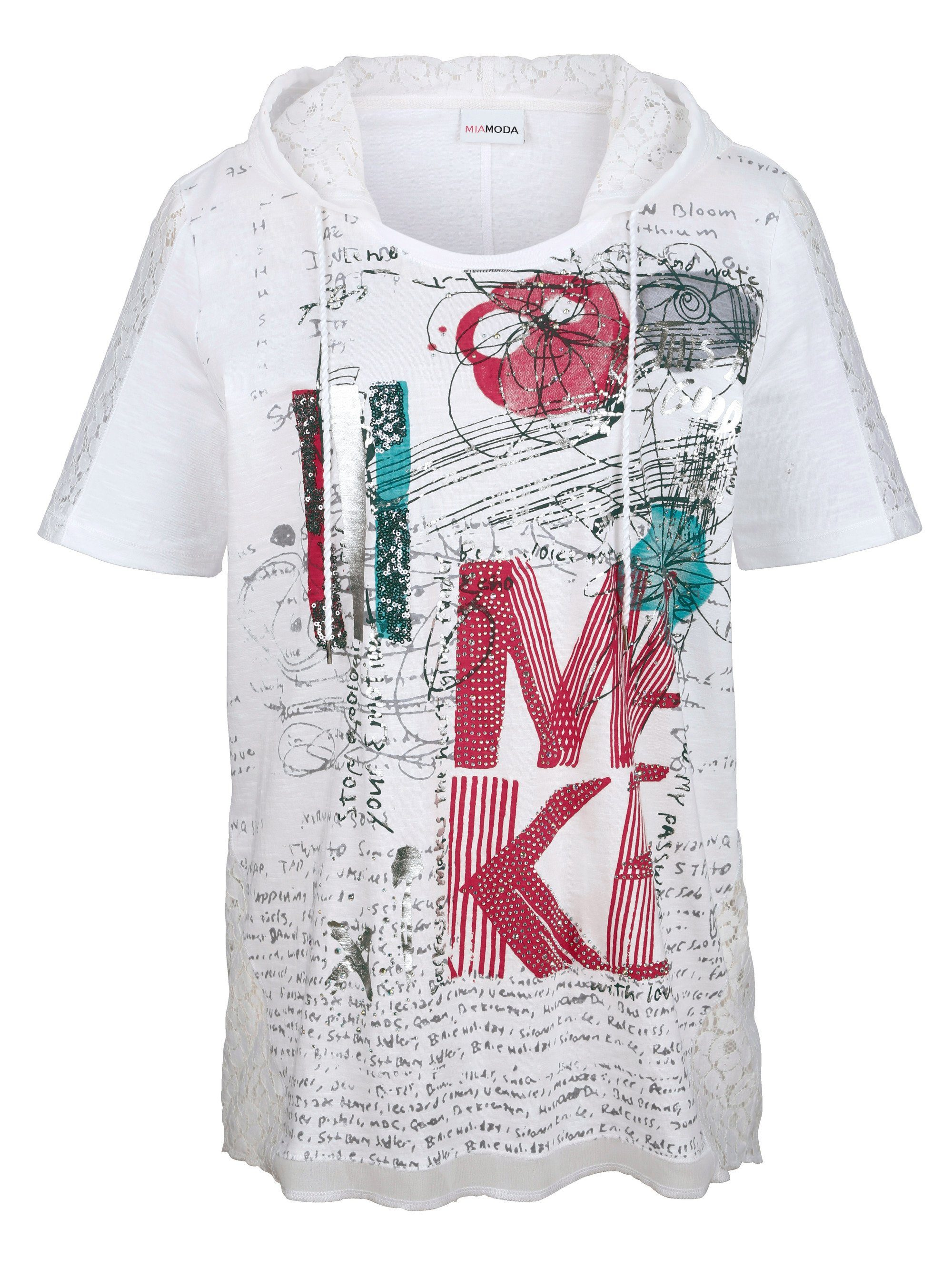 MIAMODA Zipfelshirt mit Kapuze | Bekleidung > Shirts > Zipfelshirts | Weiß | Miamoda