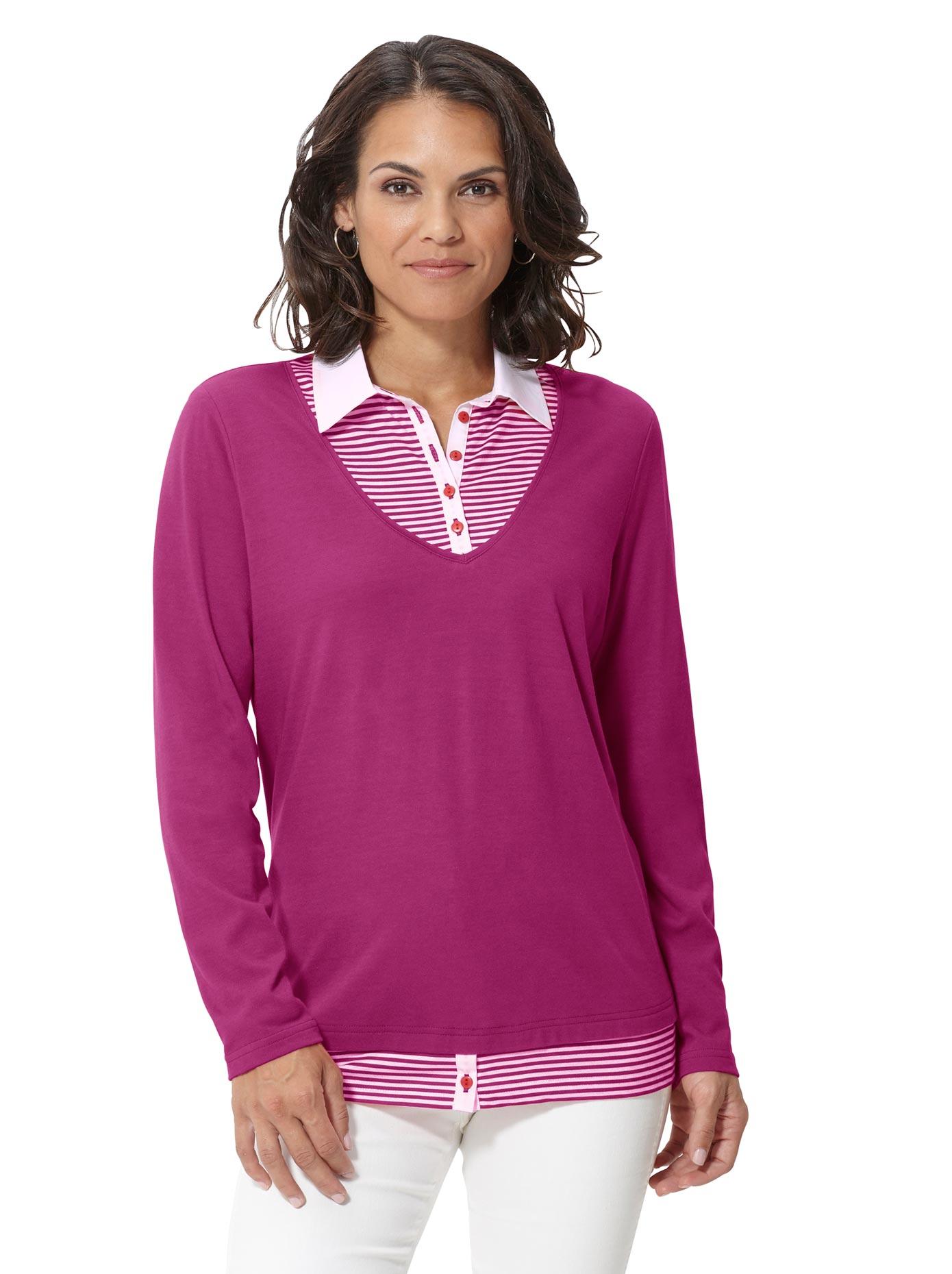 Casual Looks 2-in-1-Shirt im attraktiven Look | Bekleidung > Shirts > 2-in-1 Shirts | Lila | Casual Looks