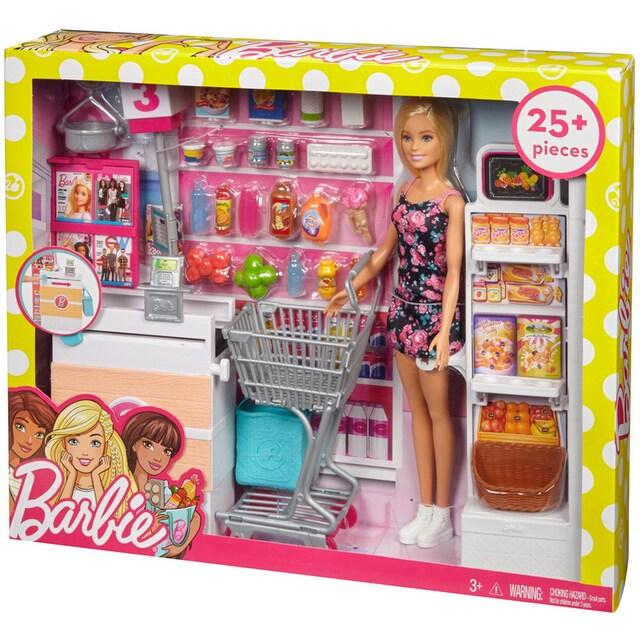 """Mattel® Anziehpuppe """"Barbie Supermarkt und Puppe"""" (Set, 20-tlg.)"""