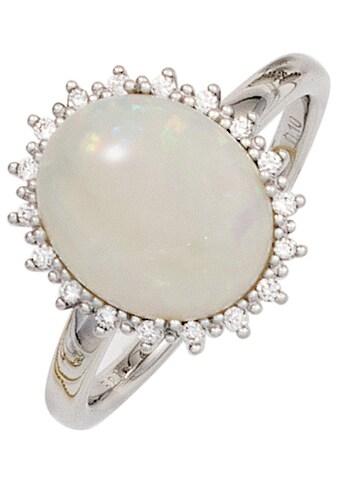 JOBO Diamantring, 585 Weißgold mit Opal-Cabochon und 18 Diamanten kaufen