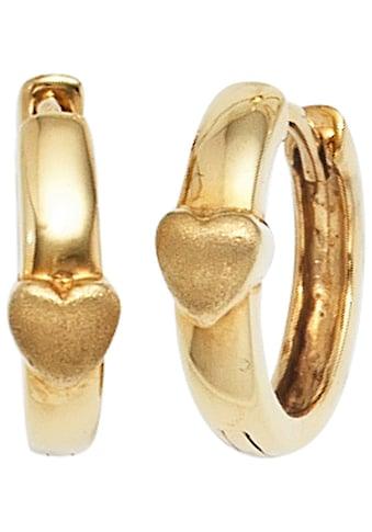 JOBO Paar Creolen, Herz 333 Gold kaufen