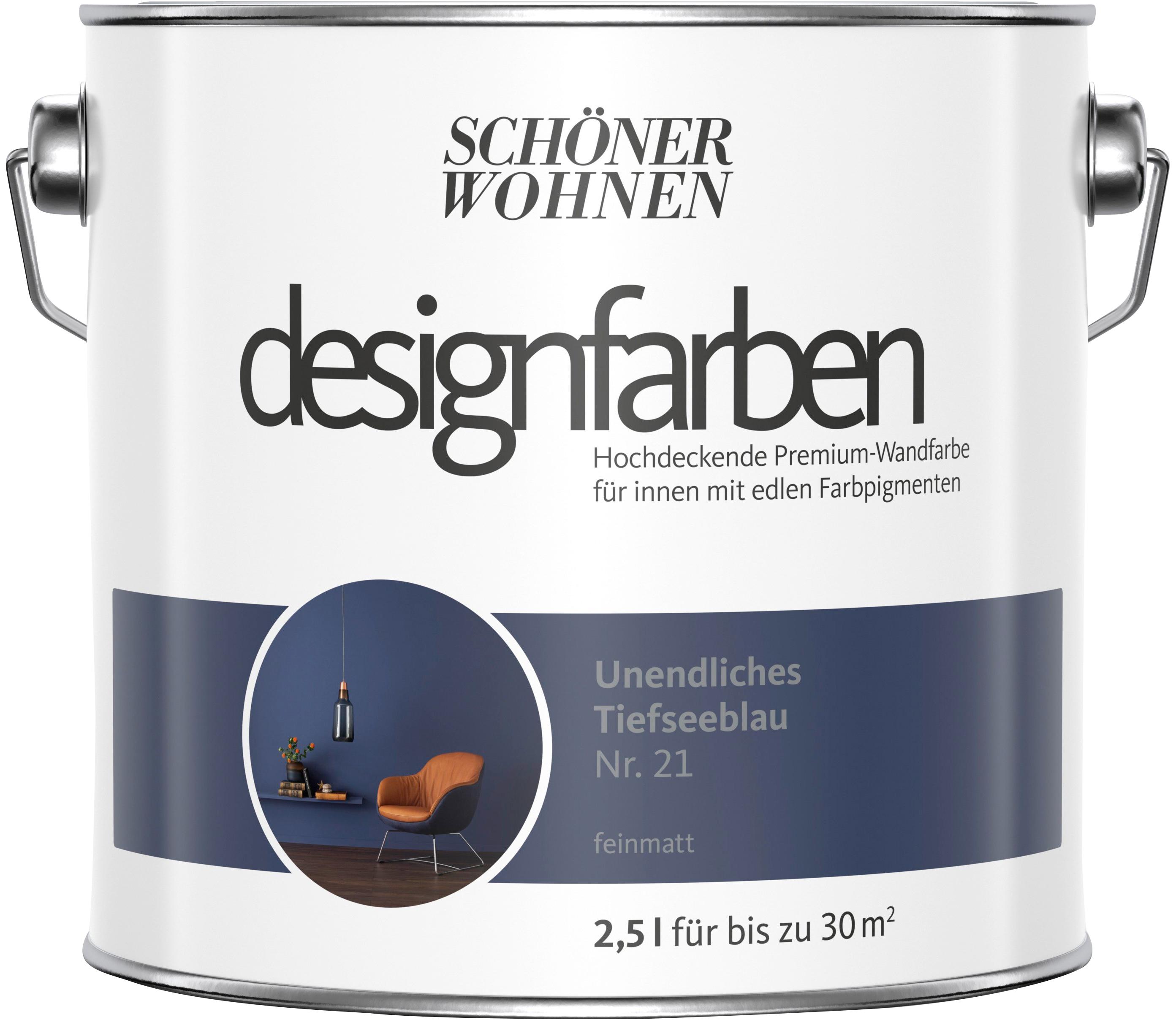 SCHÖNER WOHNEN FARBE Farbe »Designfarben«, Unendliches Tiefseeblau Nr. 21,  feinmatt 2,5 l auf Rechnung | BAUR