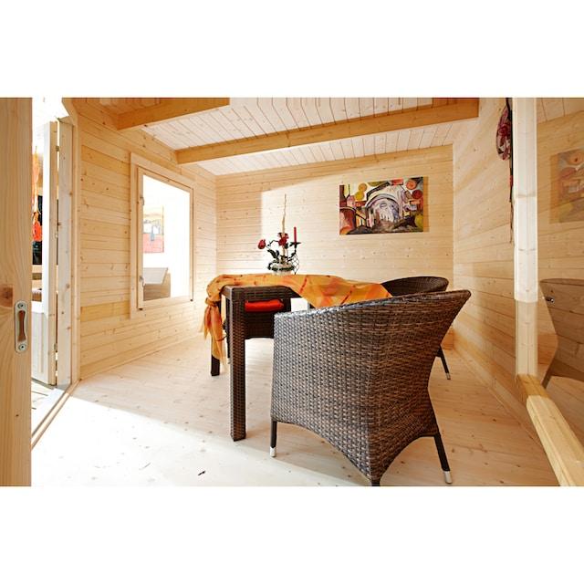 WOLFF FINNHAUS Set: Gartenhaus »Maja 40-A«, BxT: 599x349 cm, inkl. Fußboden und Anbaudach mit Rückwand