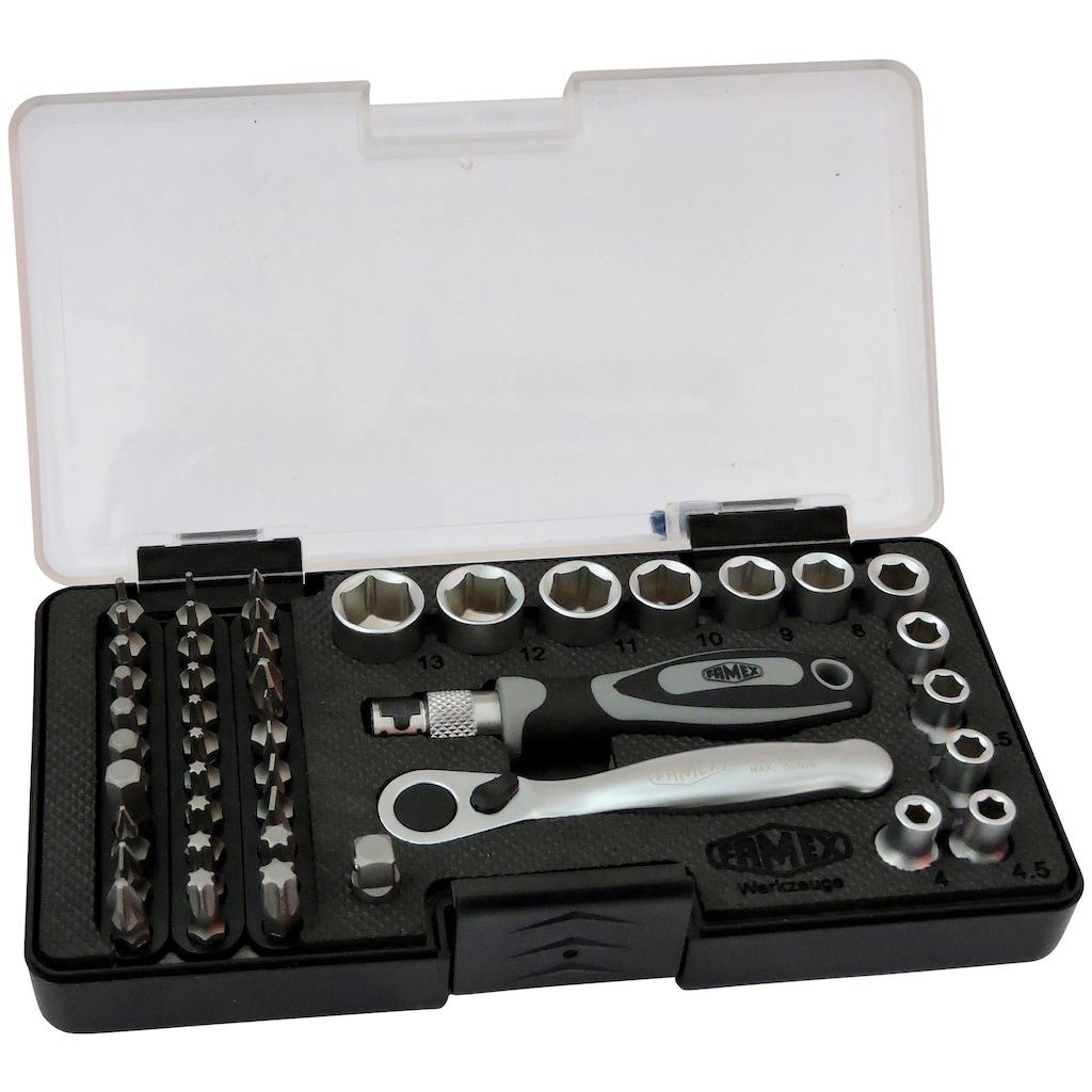 FAMEX Bit- und Steckschlüsselsatz , mit 72-Zahn Mini-Knarre, 45-teilig