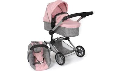 CHIC2000 Kombi-Puppenwagen »Linus, melange grau-rosa«, mit Babywanne und Autositz kaufen