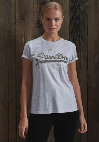 Superdry T-Shirt, Vintage Logo T-Shirt mit Paillettenbesatz kaufen