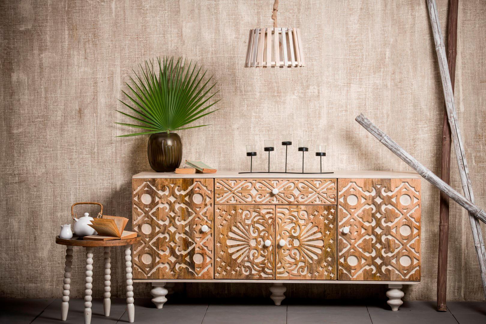 Home Affaire Sideboard »Spring« aus massivem Mangoholz mit dekorativen Schnitzereien, Breite 160 cm