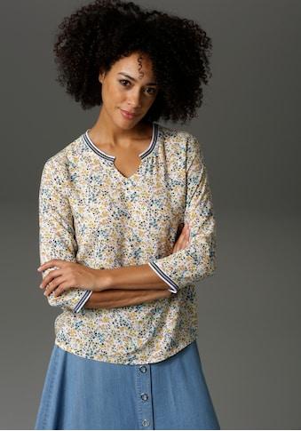 Aniston CASUAL Shirtbluse, mit gestreiften Bündchen - NEUE KOLLEKTION kaufen