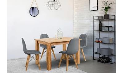 Home affaire Essgruppe »Ben«, (Set, 5 tlg.), bestehend aus 4 Scandi Stühlen mit Kunstleder Bezug und einem Massivholz Esstisch, Esstischgröße 120 cm kaufen