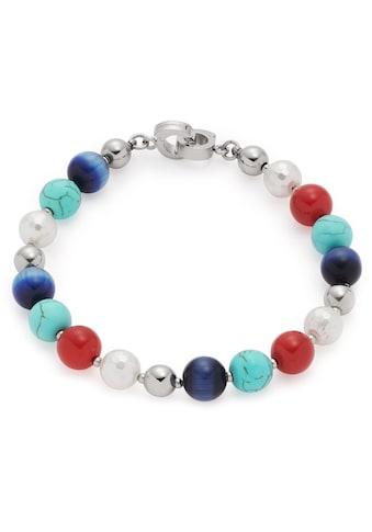 LEONARDO Edelstahlarmband »Como Darlin's, 017923«, mit imit. Perlen, synth. Türkis und Glassteinen kaufen