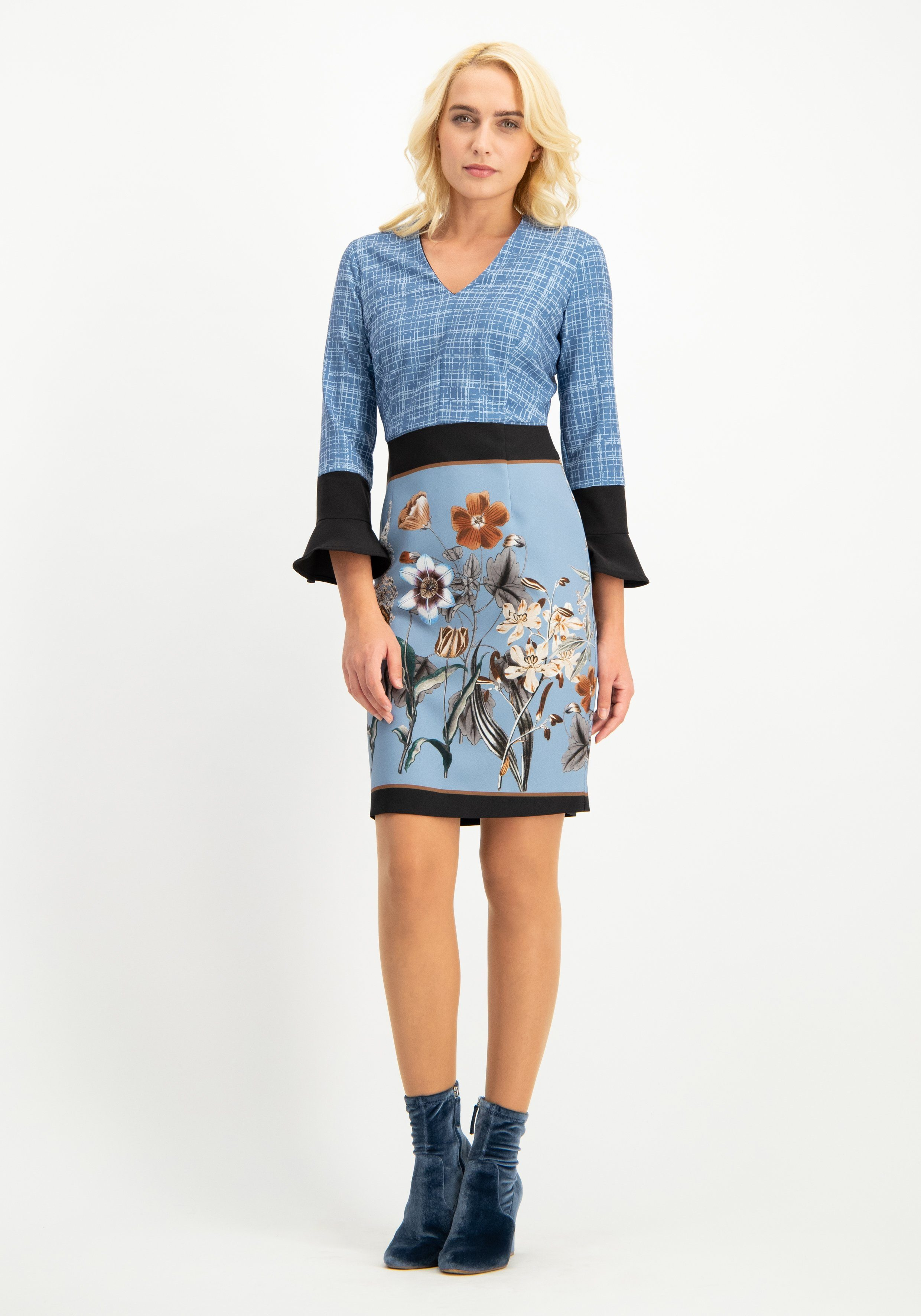 Nicowa Feminines Kleid NELLERA in modernem Muster-Mix