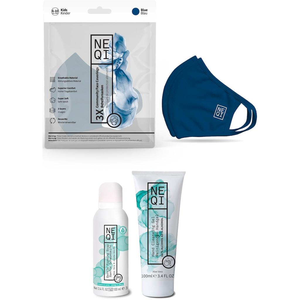 NEQI Community-Maske, für Kinder, inkl. feuchtigkeitsspendende Handseife und Handreinigungsgel