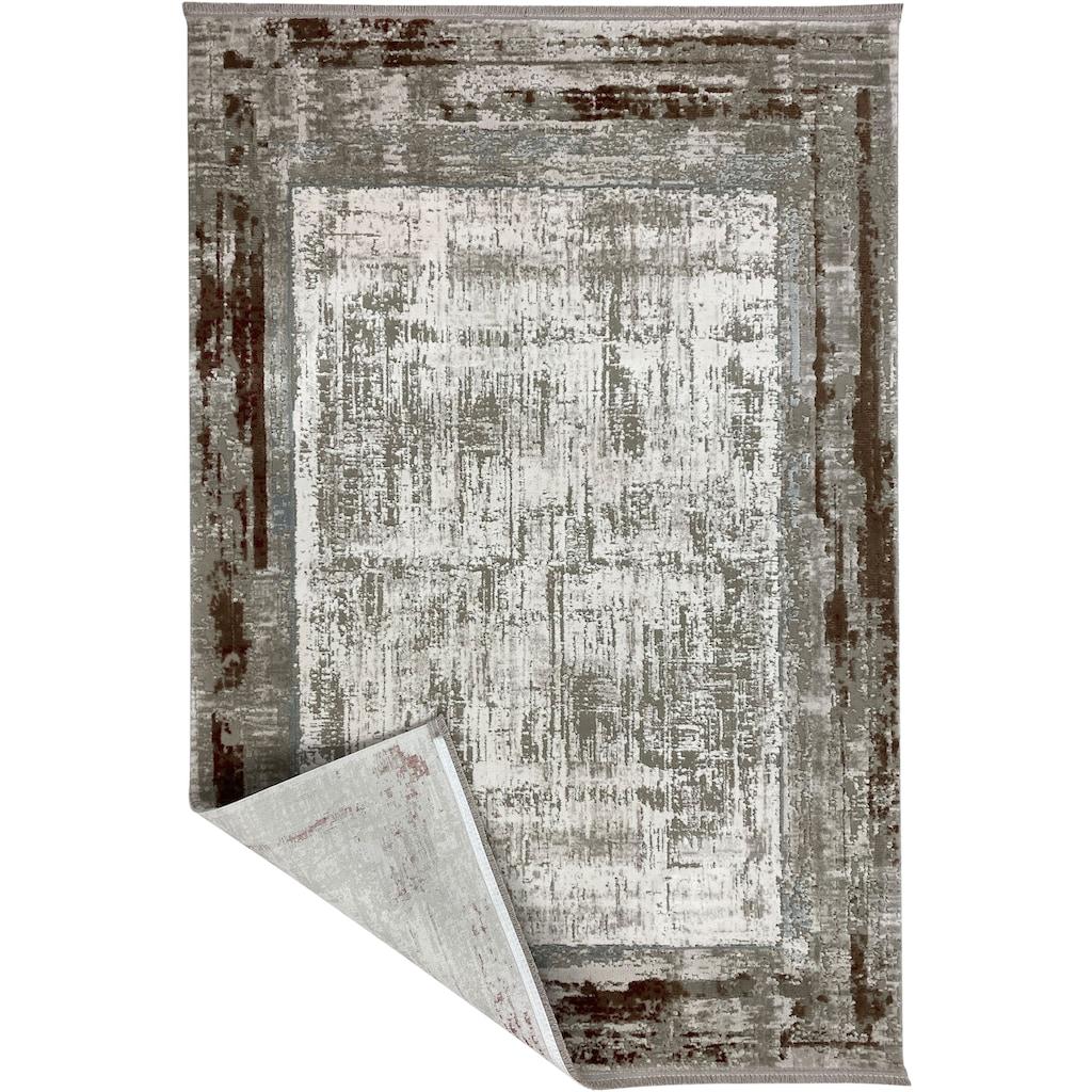 RESITAL The Voice of Carpet Teppich »Combo 5001«, rechteckig, 10 mm Höhe, Kurzflor, mit Fransen, Wohnzimmer