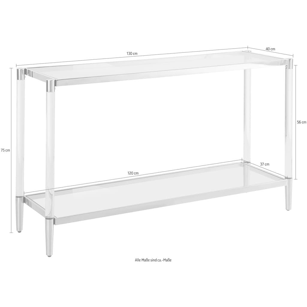 Leonique Beistelltisch »Ceadda«, Konsolentisch mit Glasbeinen und einer Glastischplatte, Breite 130 cm