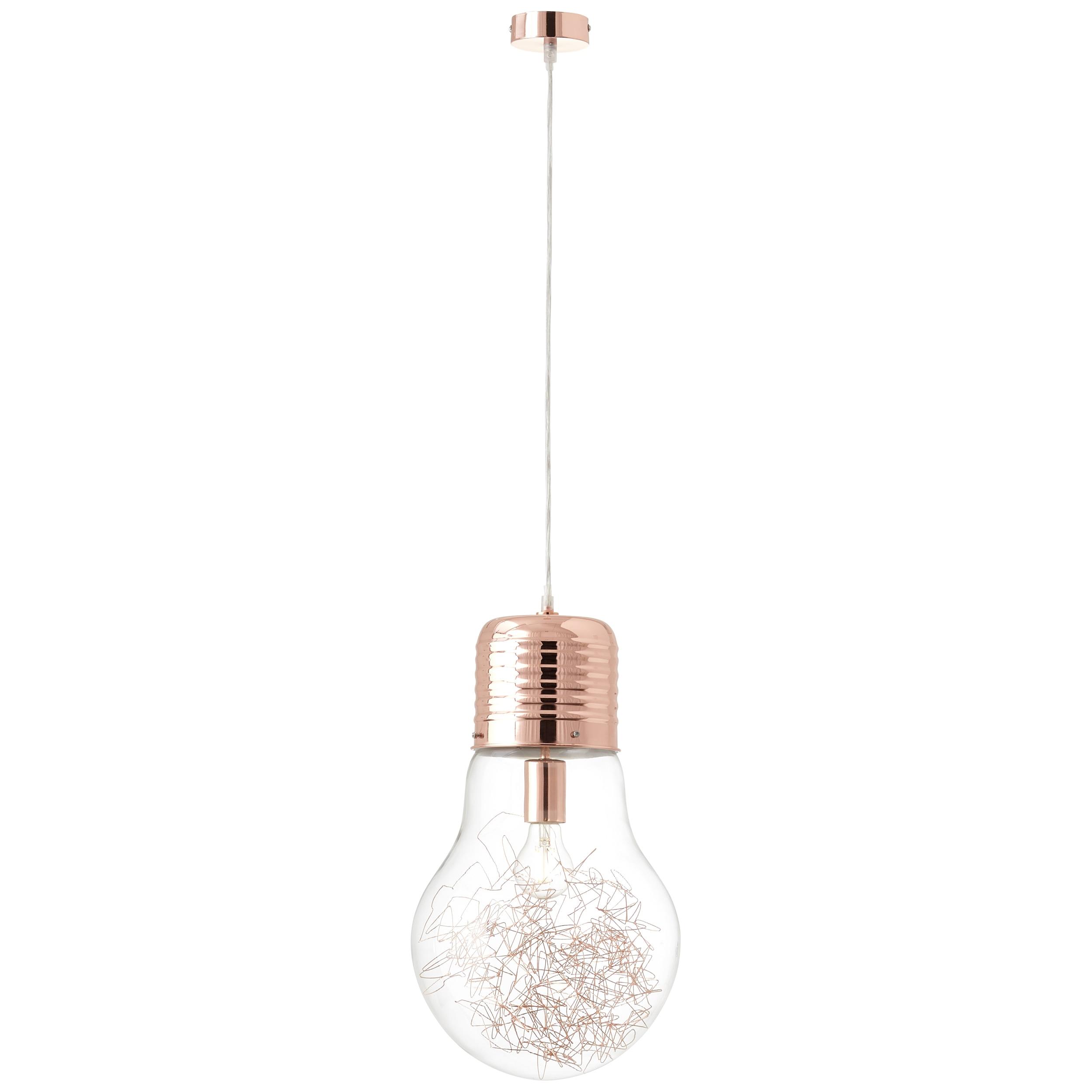 Brilliant Leuchten Bulb Pendelleuchte 27cm kupfer/transparent
