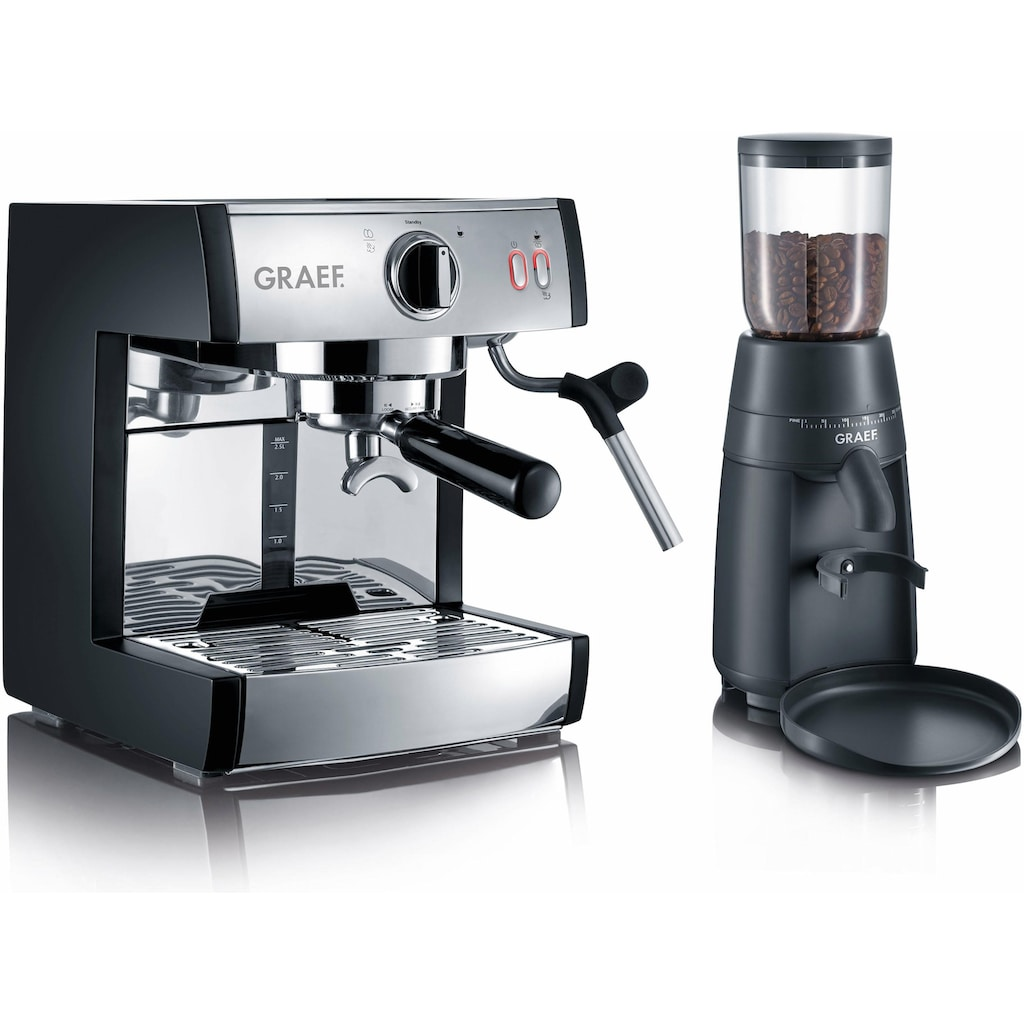 Graef Siebträgermaschine »Espressomaschine pivalla SET«, inkl. Kaffeemühle CM702 im Wert von € 94,99 UVP