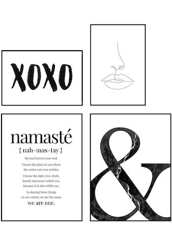 Reinders! Wandbild »Wandbilder Set Moderner Kuss Quote - Yoga - Zusammen -... kaufen