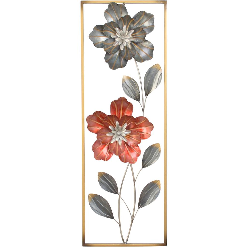 HOFMANN LIVING AND MORE Wanddekoobjekt, Wanddekoration aus Metall, Motiv Blumen