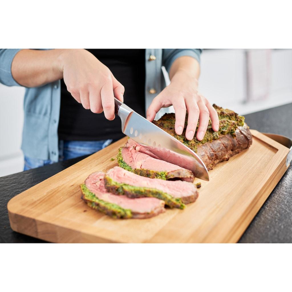 RÖSLE Santokumesser »Rockwood«, (1 tlg.), scharfes Küchenmesser zum Schneiden von Fleisch, Fisch, Geflügel und Gemüse, Kullenschliff, Klingenspezialstahl, ergonomischer Griff, rotbraunes Pakkaholz