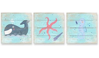 Wall-Art Mehrteilige Bilder »Am Strand Holzbilder Collage«, (Set, 3 St.) kaufen