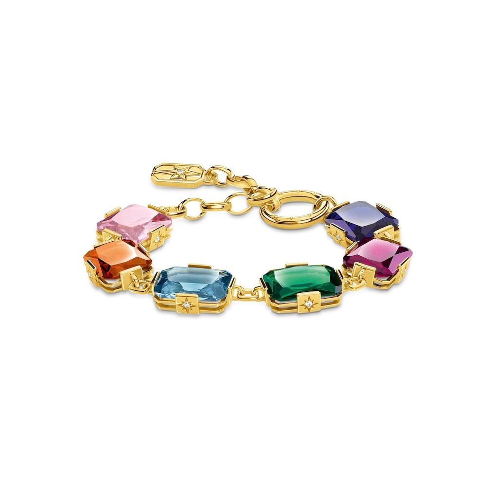 THOMAS SABO Armband »Große farbige Steine gold, A1911-996-7-L19v«, mit synth. Korund, synth. Spinell, Glassteinen und Zirkonia