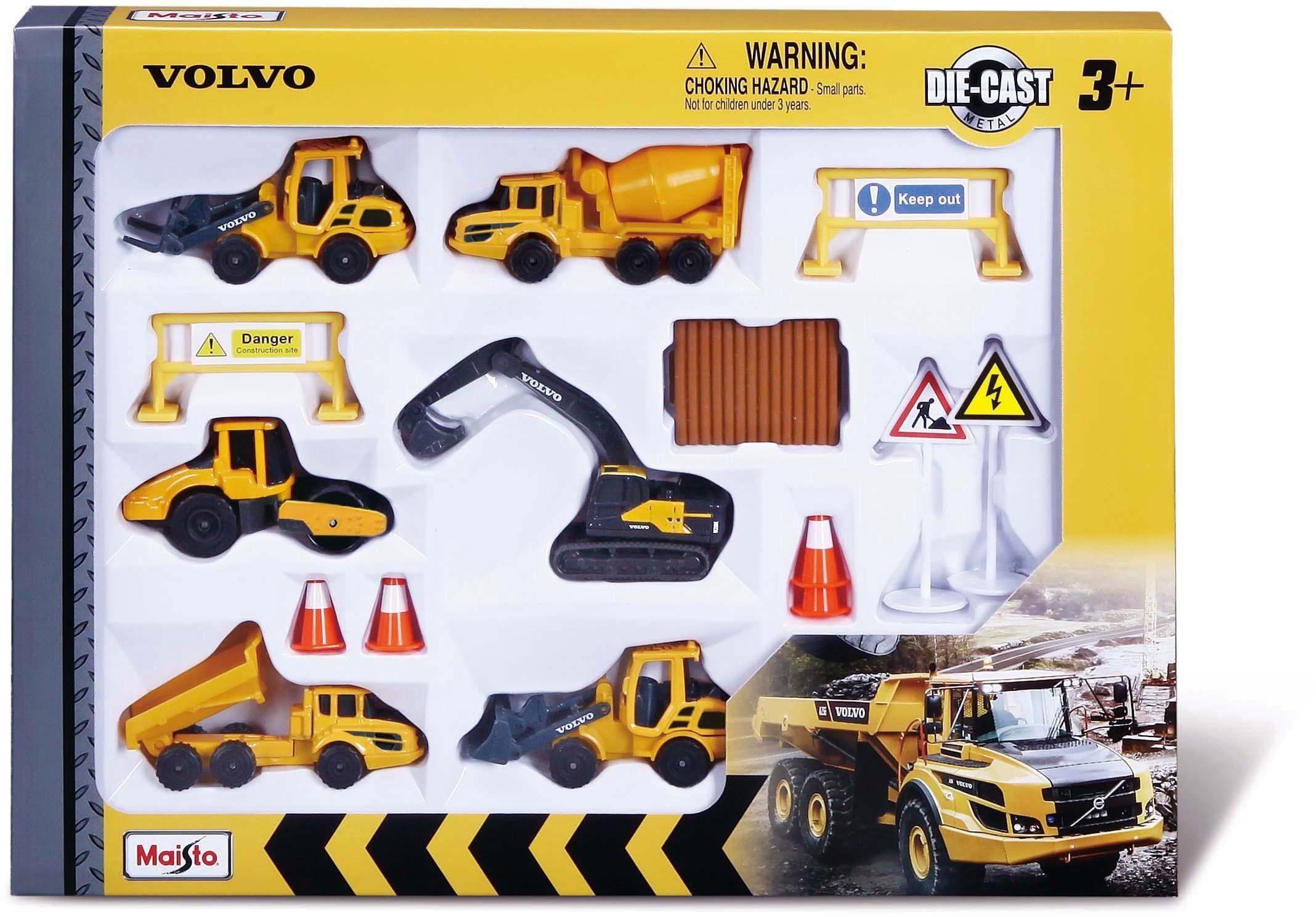 Maisto Spielzeug-Auto Volvo Baufahrzeuge Set (Set) gelb Kinder Ab 3-5 Jahren Altersempfehlung Spielzeugfahrzeuge