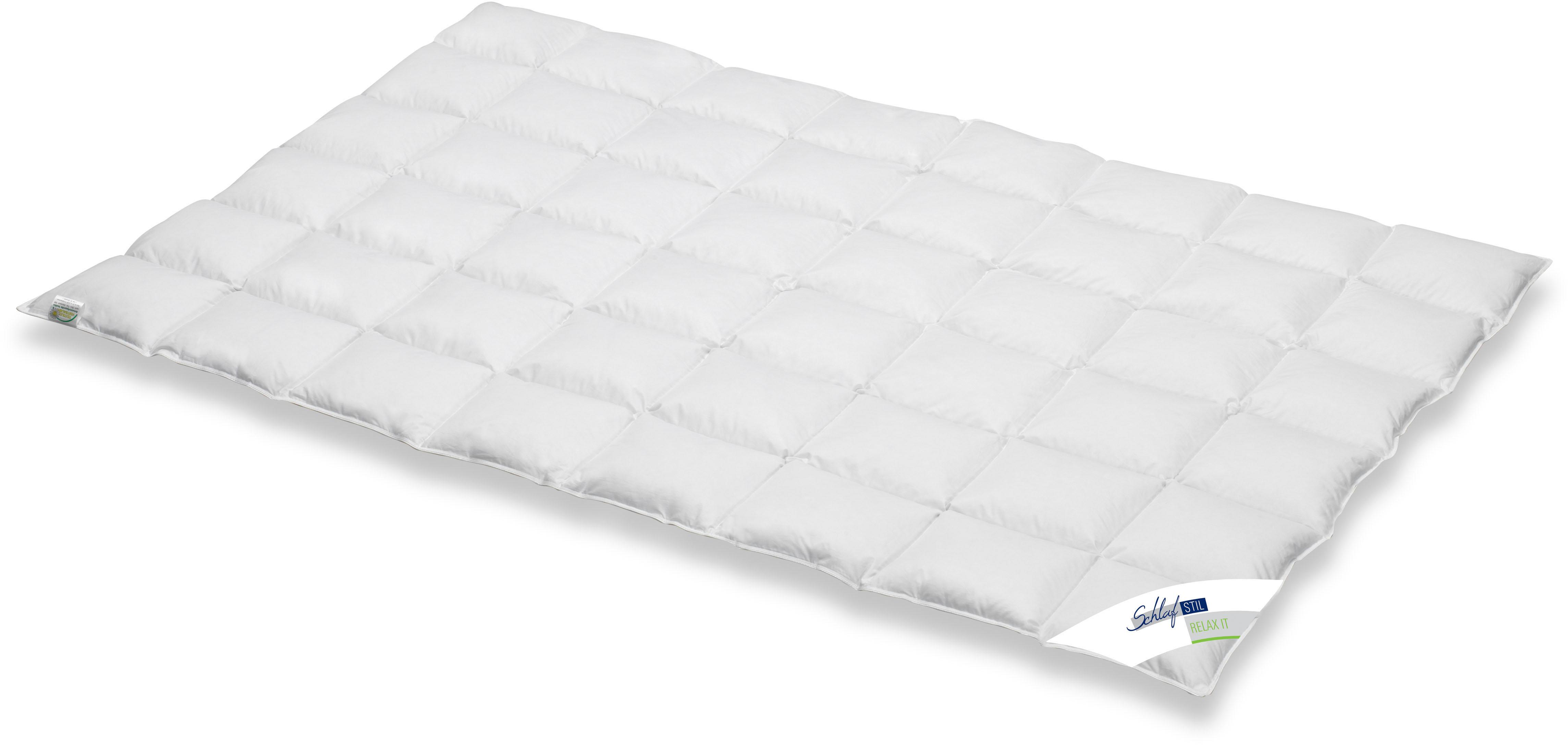 Daunenbettdecke Relax It Schlafstil leicht Füllung: 60% Daunen 40% Federn Bezug: 100% Baumwolle
