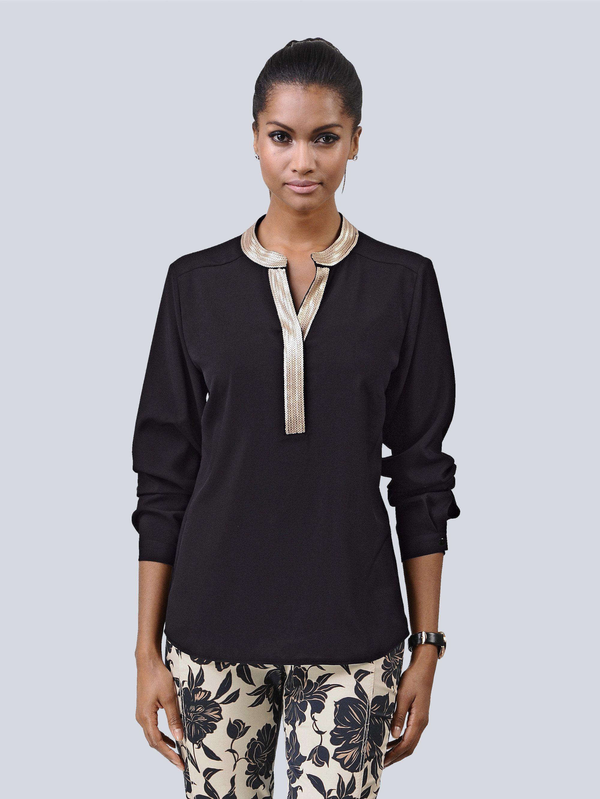 Alba Moda Bluse mit Paillettenverzierung am Ausschnitt