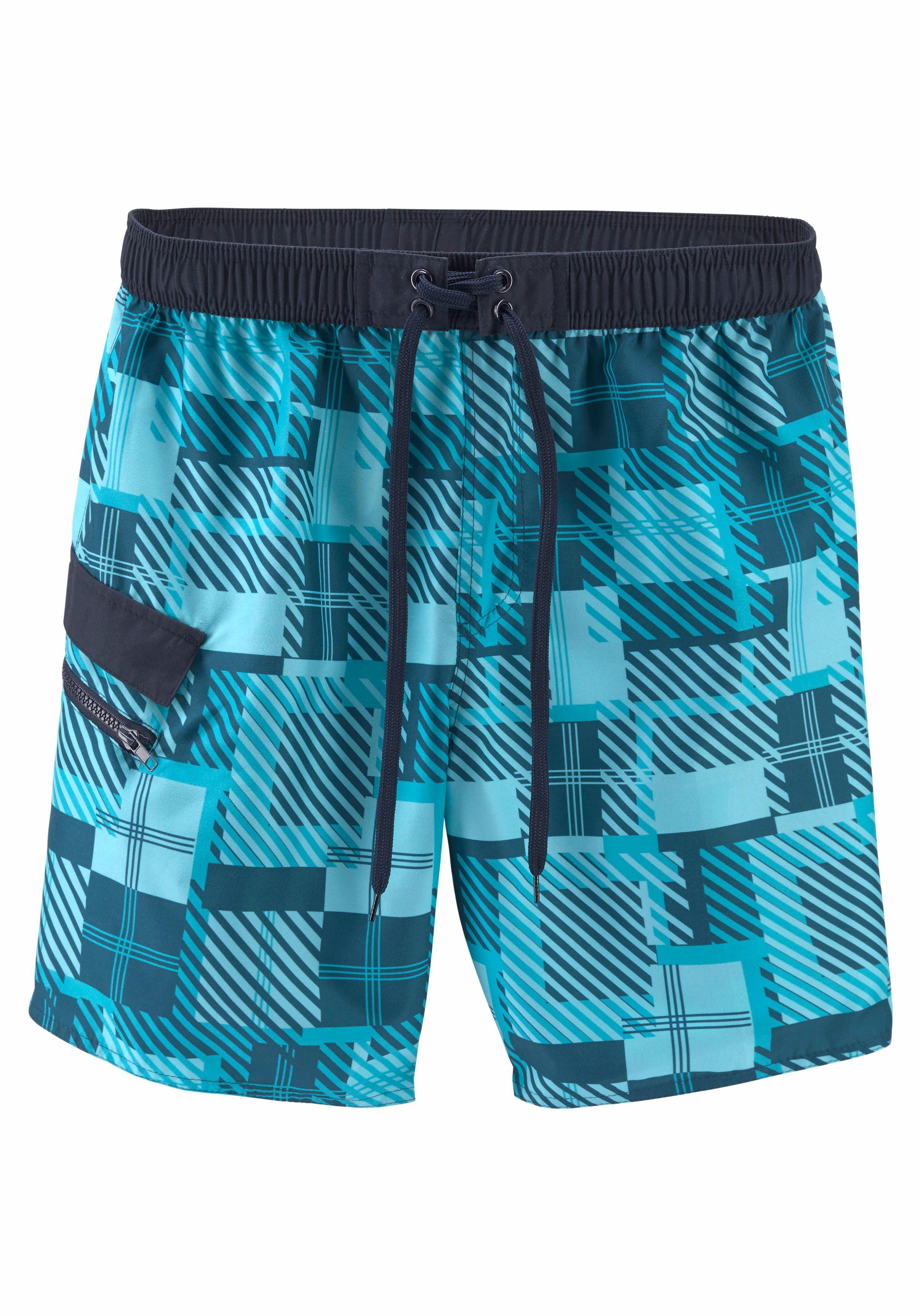Buffalo Badeshorts mit seitlicher Reißverschlusstasche | Bekleidung > Shorts & Bermudas > Shorts | Blau | BUFFALO