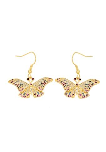 La Piora Paar Ohrhänger »Schmertterlinge«, mit bunten Steinen, Bronze gelbvergoldet kaufen