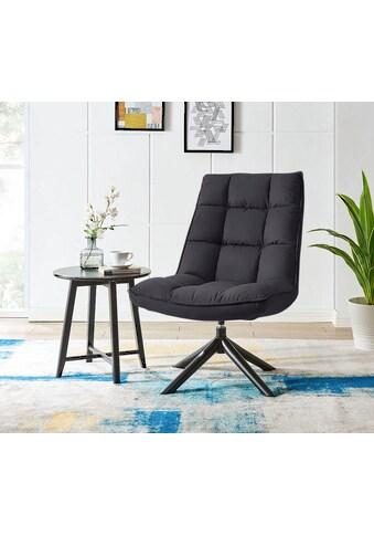 andas Drehsessel »Wanja«, mit Metallgestell und pflegeleichtem, weichem Samtvelours Bezug, Sitzhöhe 47 cm, Relaxsessel kaufen