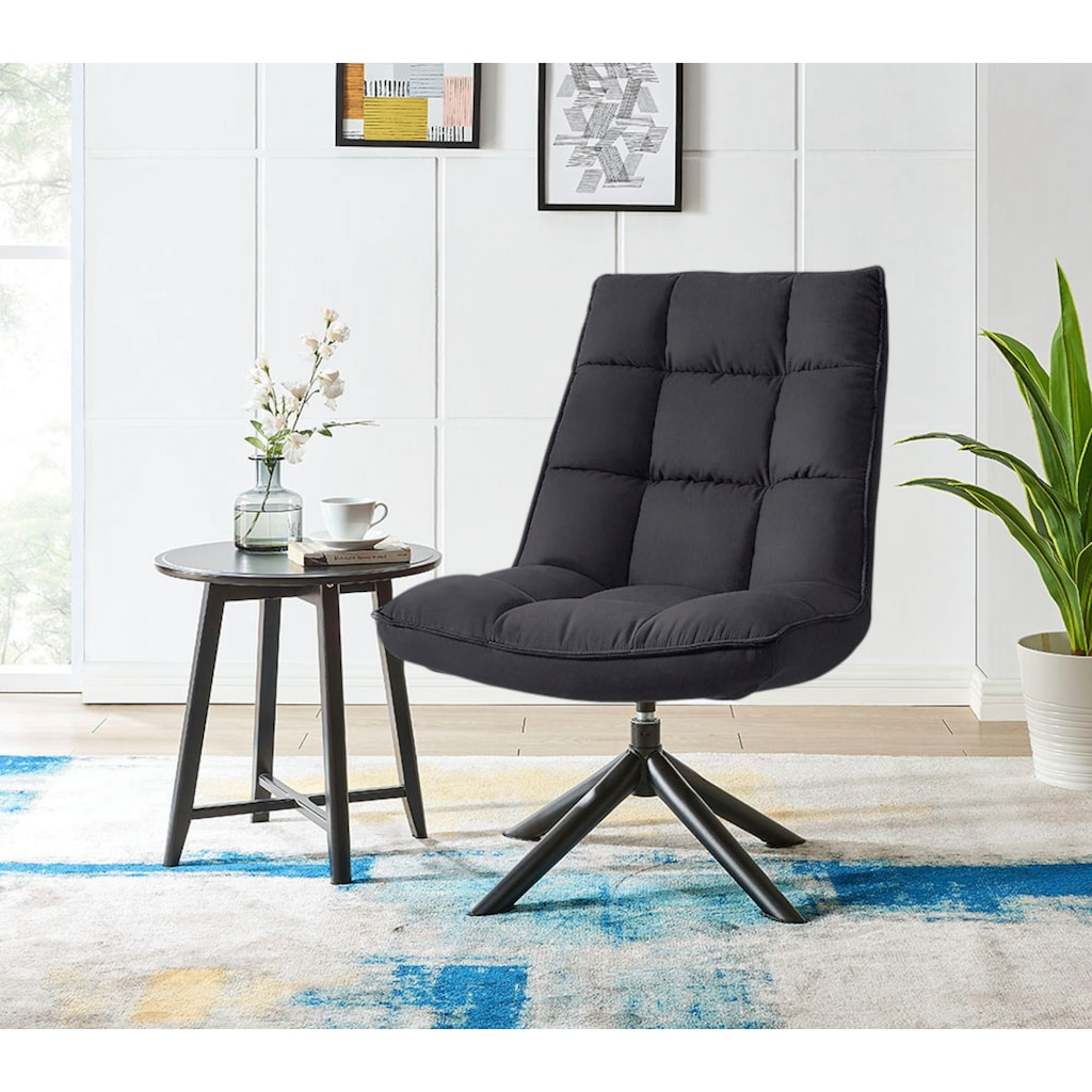 andas Drehsessel »Wanja«, mit Metallgestell und pflegeleichtem, weichem Samtvelours Bezug, Sitzhöhe 47 cm, Relaxsessel