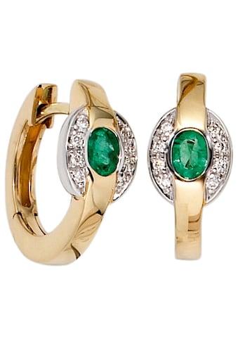 JOBO Paar Creolen, 585 Gold bicolor mit 16 Diamanten und Smaragd kaufen