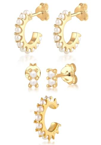 Elli Ohrring - Set »Ohrringe Creolen Stecker Earcuff Perlen, 0301221020« (Set, 5 tlg.) kaufen