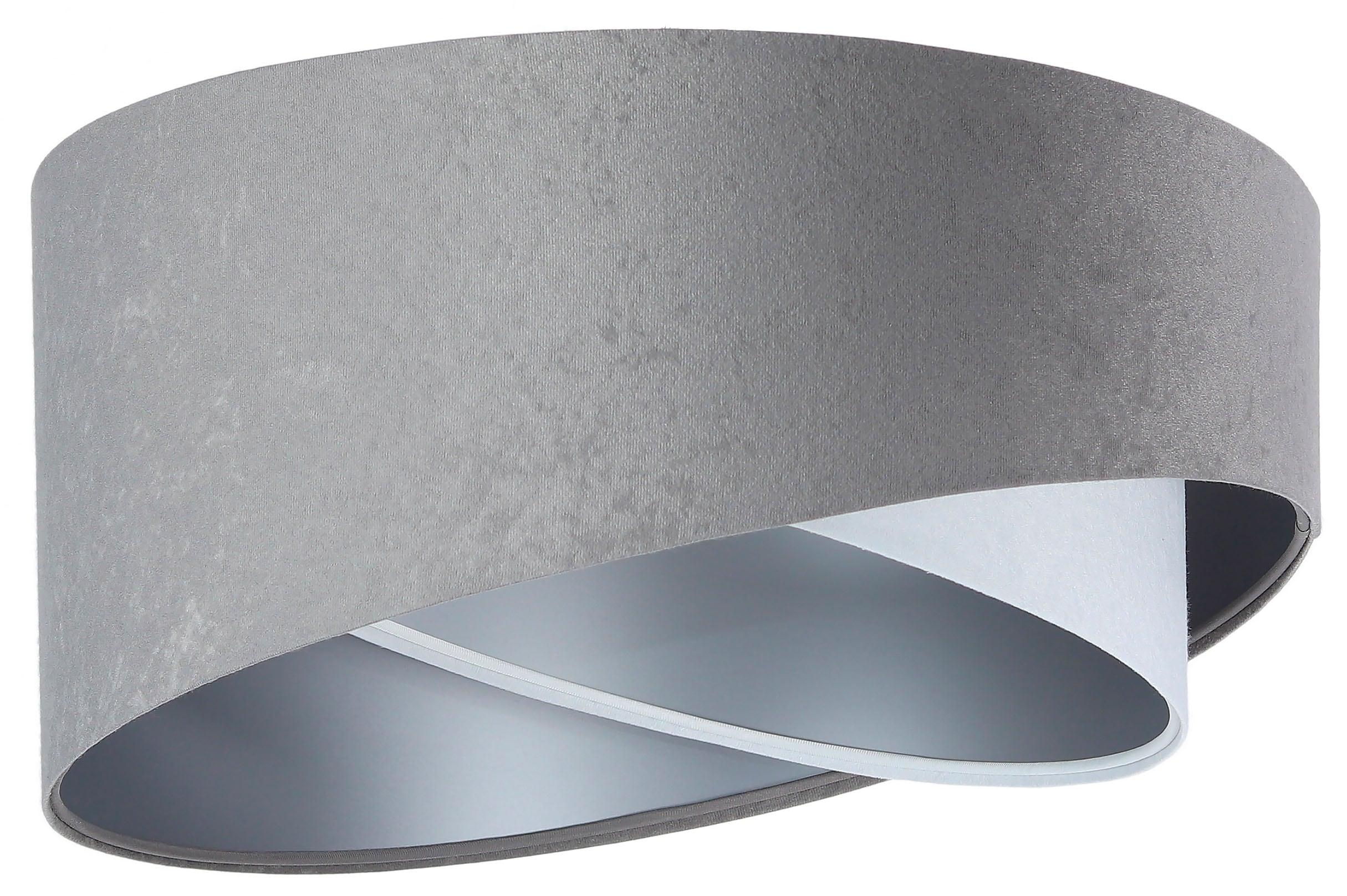 Jens Stolte Leuchten Deckenleuchte Susanne, E27, 1 St., grau, Deckenleuchte, 50cm Ø, Stoffdeckenleuchte grau/weiß/silber