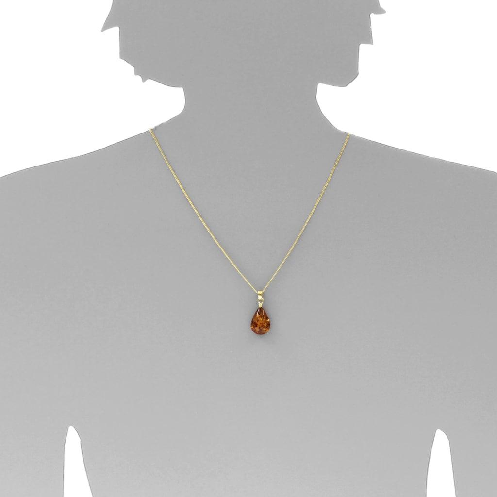 OSTSEE-SCHMUCK Kettenanhänger »- Tropfen flach, ca. 20 mm lang - Silber 925/000 vergoldet - Ber«, (1 tlg.)