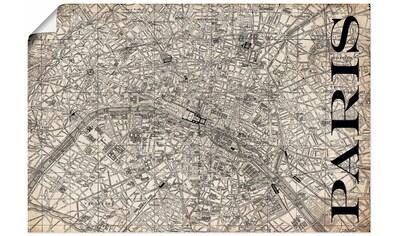 Artland Wandbild »Paris Karte Straßen Karte Grunge«, Frankreich, (1 St.), in vielen Größen & Produktarten - Alubild / Outdoorbild für den Außenbereich, Leinwandbild, Poster, Wandaufkleber / Wandtattoo auch für Badezimmer geeignet kaufen