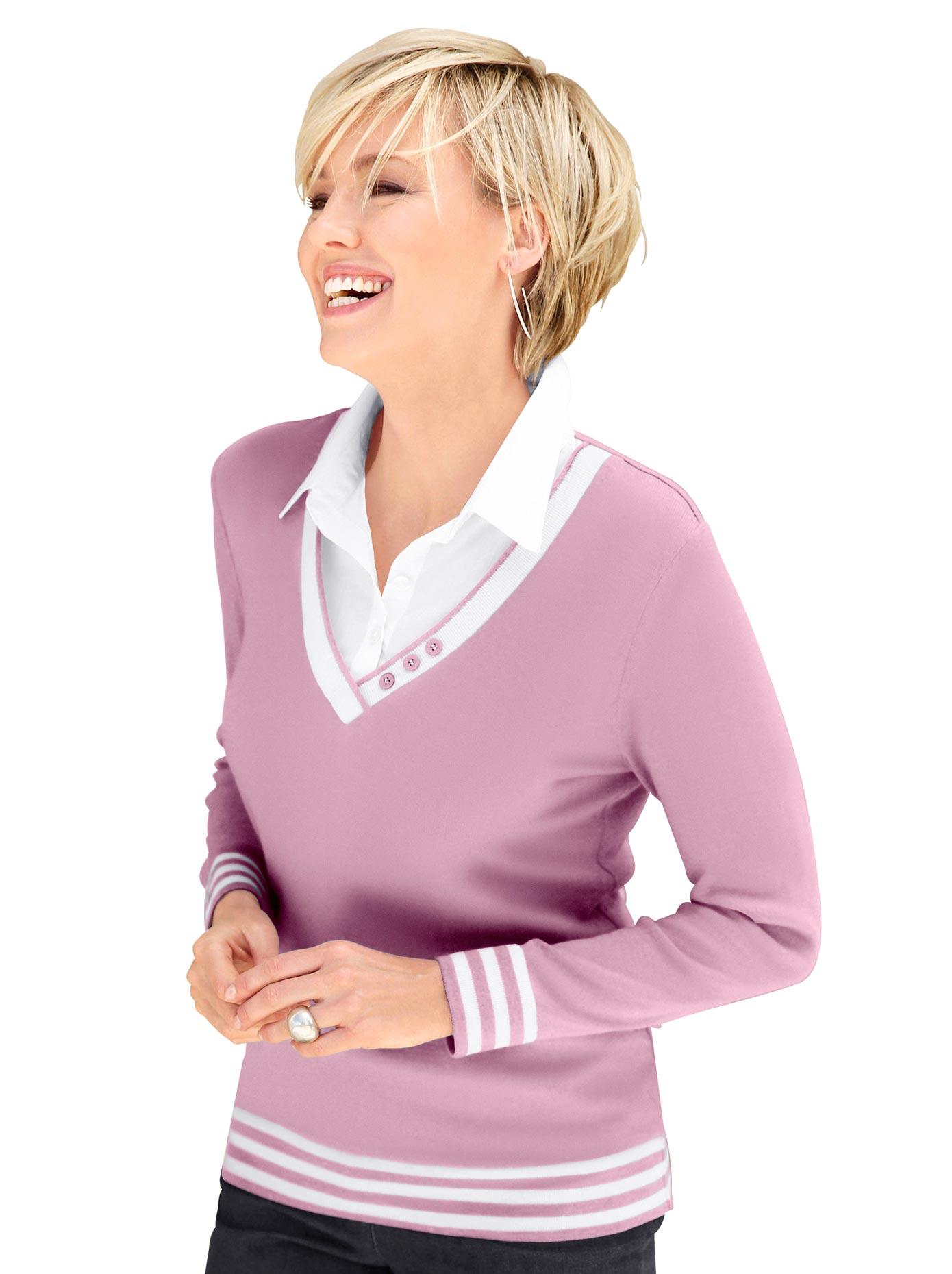 Casual Looks 2-in-1-Pullover mit Zierknöpfen am V-Ausschnitt   Bekleidung > Pullover > 2-in-1 Pullover   Lila   Casual Looks