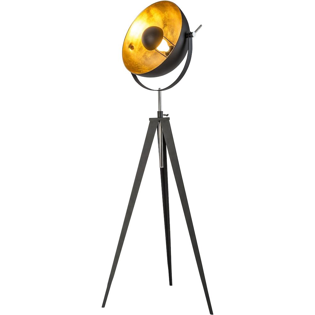 Leonique Stehlampe »Elenoire«, E27, Stehleuchte in Retro Optik, Höhe von 148 bis 168 cm verstellbar, schwarz / goldfarben