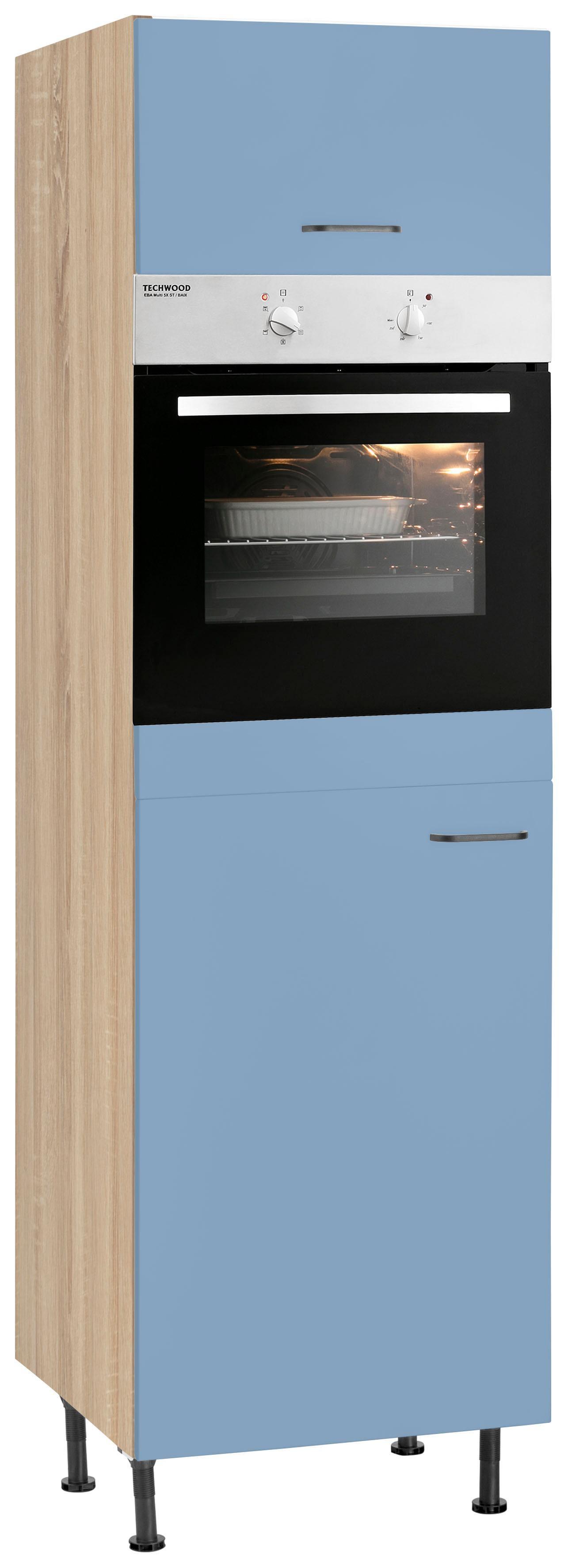 OPTIFIT Backofenumbauschrank Elga | Küche und Esszimmer > Küchenelektrogeräte > Herde und Backöffenen | Blau | Nachbildung - Eiche - Melamin | Optifit